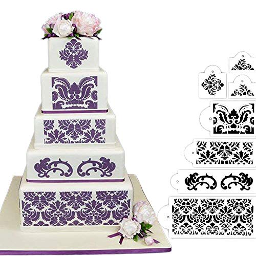 HULISEN 7Pcs Cake Decorating Stencil Mold Wedding Cake Stencil, Cake Mould