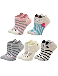 Girls Cotton Ankle Socks Kids Toddler Infant Girls Anti-slip Novelty Cute Cat Animal Funny Socks 5 Pairs