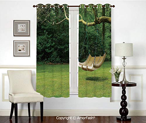 PUTIEN Decorative Curtains Room Darkening Thermal Insulated Curtains,Grommet Top,42x72 Inch Country Decor Curved Swing Bench Hanging from The Bough of Tree in Lush Garden Woodland Backdrop