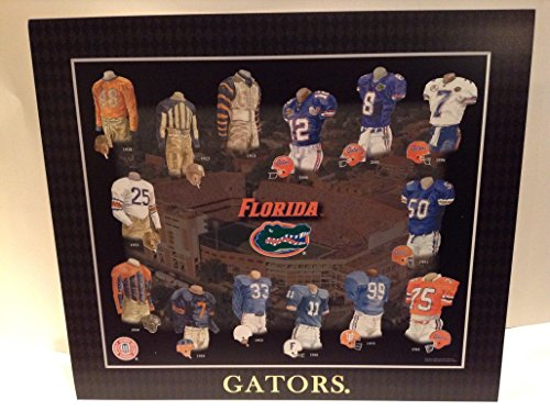 Framed Evolution History Florida Gators Uniforms Print - Florida Gators Uniforms