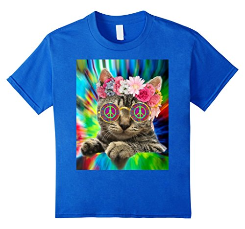 Kids Hippie Cat Kitty Groovy Tie Dye T Shirt Peace Sign Festival (Blue Peace Sign Womens T-shirt)