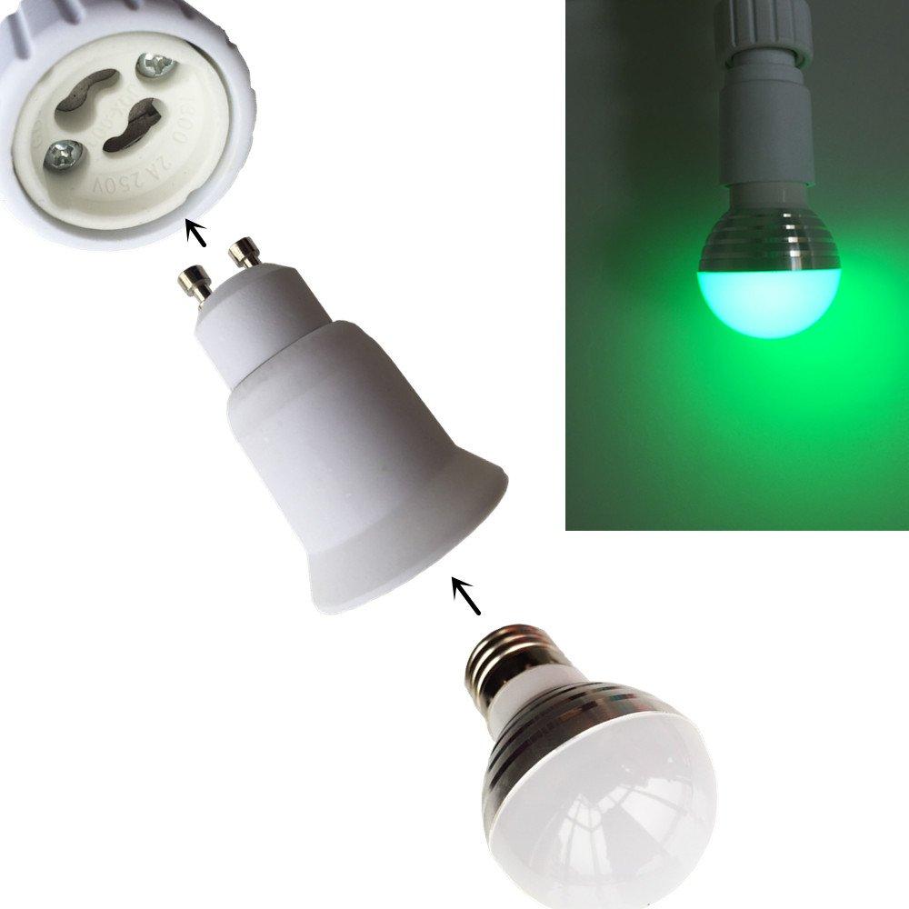 DZYDZR 10pcs GU10 to E26//E27 Edison Base Lamp Bulbs Sockets Adapter Converter Flame Retardant Material Used for Less Than 60W LED Lamp