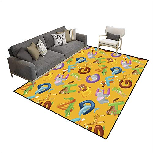 Kids Carpet Playmat Rug Seamless Pattern Animals Alphabet for Kids ABC Education in Preschool 6'x9' (W180cm x L270cm