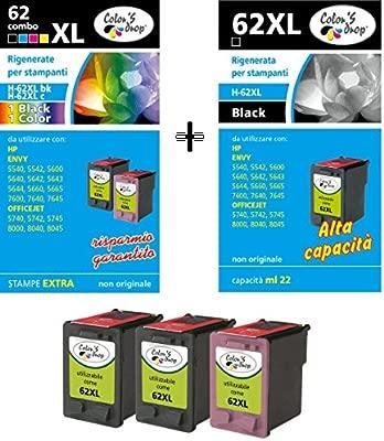 Cartuchos de tinta rellenados para HP 62XL, negro 2 piezas + 62XL ...