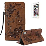 Funyye Shiny Sparkle Case for iPhone XR 6.1 inch[with Free Screen Protector],Stylish [3D Shine Diamond Butterfly Embossing] Magnetic Closure Wallet Case with Credit Card Holder Ultra Thin Soft Silicone PU Leather Stand Function Smart Flip Case for iPhone XR 6.1 inch,Brown
