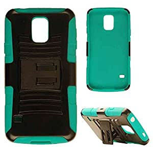 Cell Armor Samsung Galaxy S5 Hybrid Novelty Protective Case with Stand - Retail Packaging - Blue-Green Skin and Black Snap by runtopwell