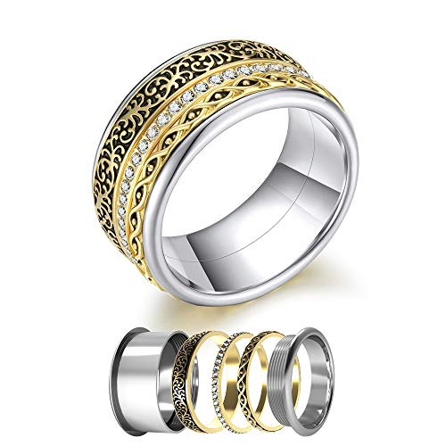 (Floya Stainless Steel Combination Spinner Rings Wedding Engagement Bands for Men& Women)