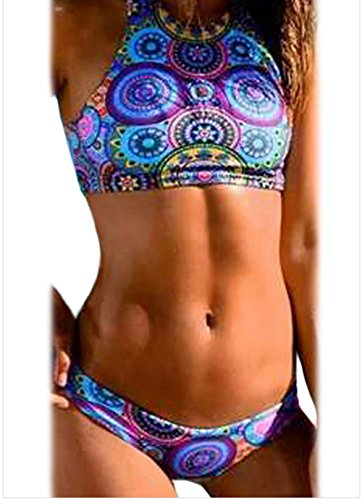YeeATZ Ocean Kaleidoscope Print High Neck Swimsuit(Size,XL) Flannelette Crib