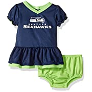 NFL Seattle Children Girls Dazzle Dress & Panty Set, 0-3 Months, Seahawks