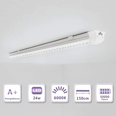 OUBO T8 LED tubo fluorescente 150cm Blanco frío 6500K 2850lm Bombillas de bajo consumo Cubierta transparente23 vatios 230 voltios para el hogar,la ...