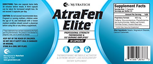 Atrafen Elite Professional Formula Appetite Suppressant Fat Burner Diet Pill and Thermogenic for Fast Weight Loss. Works Great for Those on Keto Diets. 60 Count.