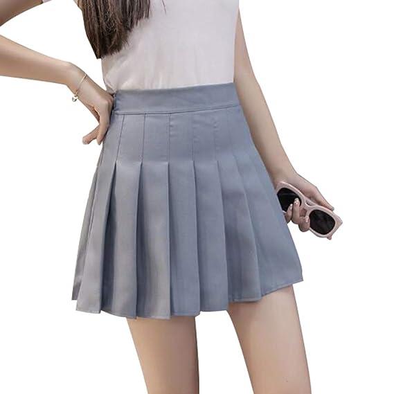 Mxssi Falda Corta Cintura Alta Falda Plisada Escuela Tenis Mujeres ...