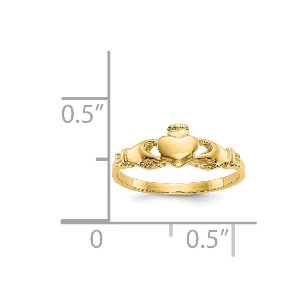 14K Yellow Gold Polished Childs Claddagh Ring