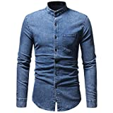 Clearance Sale Men's Denim Shirts vermers Men Autumn Winter Vintage Distressed Solid Long Sleeve T-Shirt Top Blouse(M, Blue)