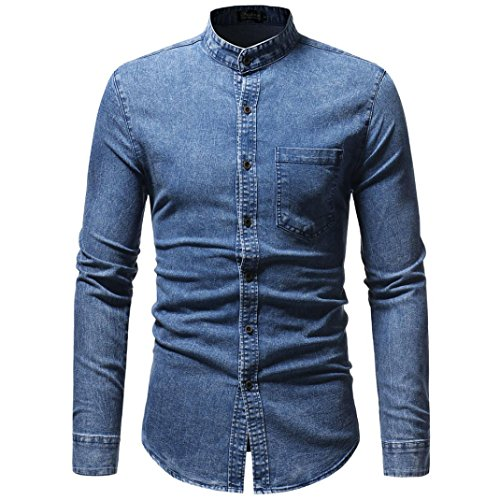 Clearance Sale Men's Denim Shirts vermers Men Autumn Winter Vintage Distressed Solid Long Sleeve T-Shirt Top Blouse(M, Blue) by vermers