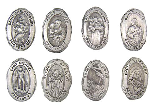 Religious Gifts Pewter Assorted Patron Saint Pray for Us Pocket Tokens, Pack of 8