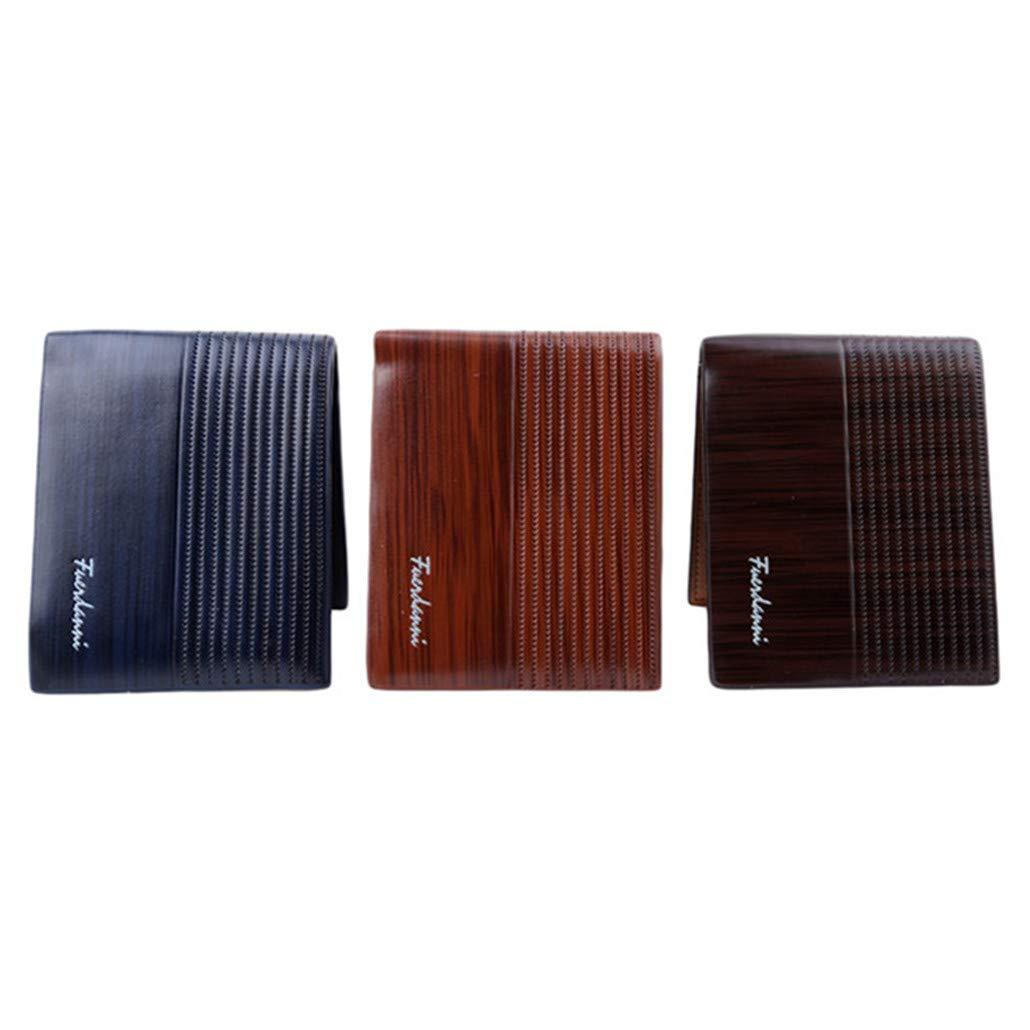 HAOWANG Men Leather Brand Luxury Wallet Vintage Short Slim Male Purses Dollar Price Portomonee Carteria Navy Blue