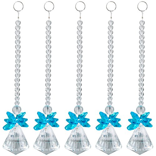 SUNYIK Blue Crystal Guardian Angel Ornament Pendant Hanging,Christmas Decoration,Handcrafts Pack of 10
