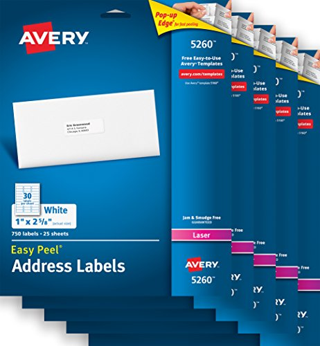 Avery Easy Peel Address Labels for Laser Printers , 1' x 2-5/8', Case Pack of 5 (5260)