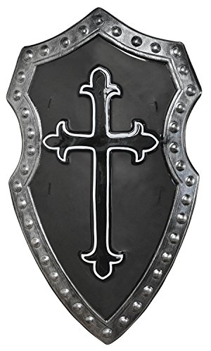 Suit Yourself Black Cross Medieval Shield, Matte Black with a Gothic Cross Symbol, Measures 15 Inches by 27 Inches -