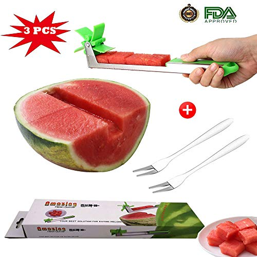 Watermelon Slicer,2019 New Smart Watermelon Windmill Slicer Stainless Steel Watermelon Windmill Cutter (3pcs)