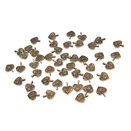 50Pcs Tibetan Bronze Filigree Heart-shaped Charms for Pendants Bracelet Necklace DIY Jewelry Making Accessories ()