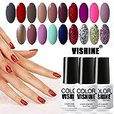choose Vishine Choose Any 12 Bottles Soak-Off UV LED Nail Lacquers Gel Nail Polish Base Top Coat 10 Colors × 7ml