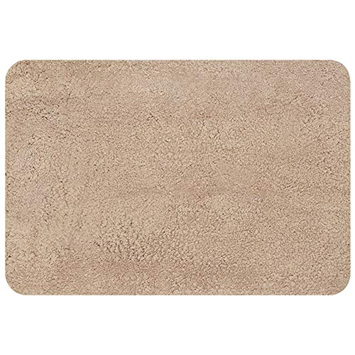 WAHOUM Floor Mat Front Door mat Polyester Material TPE Slip Bottom Hand Stitched Edging Bathroom, 2 Colors, 2 Sizes (Color : Brass, Size : 90X60CM)