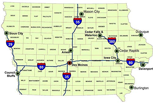 - Home Comforts Peel-n-Stick Poster of Overview State Map of Iowa Cool Des Moines Vivid Imagery Poster 24 x 16 Adhesive Sticker Poster Print