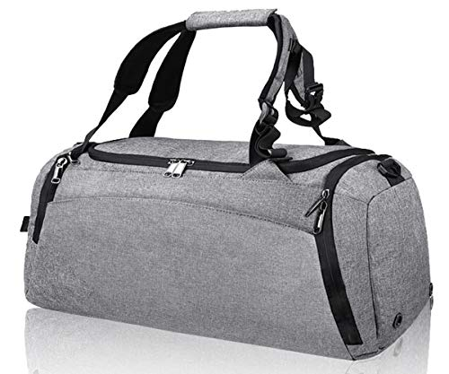 Gym Duffle Bag Waterproof Travel Weekender Bag for Men Women Duffel Bag Backpack with Shoes Compartment Overnight Bag 40L Grey from NEWHEY