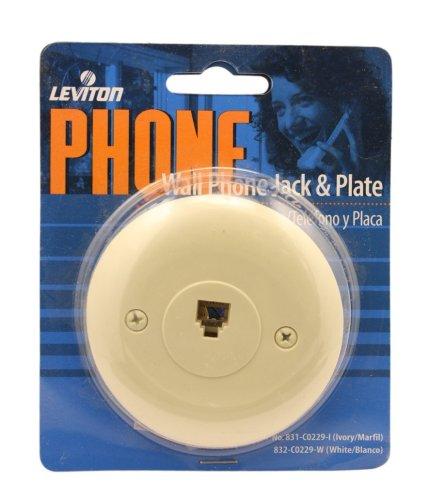 Leviton C0229-I One Piece Round Flush Mount Phone Jack Wallplate, Ivory