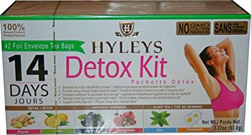 Hyleys 100% Natural 14 Day Detox Kit - Detox, Slim, Sleep Tea Set 42 Foil Envelope Tea Bags (Kit Detox)