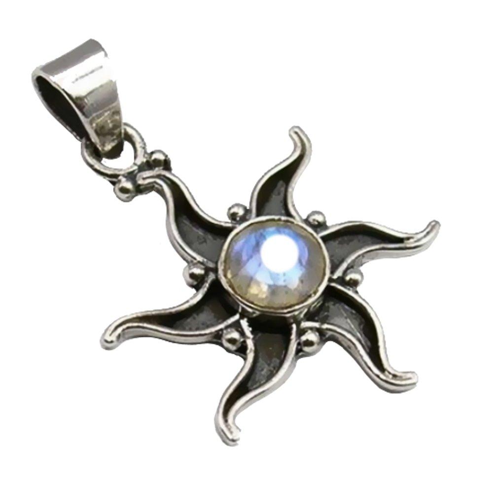 Unique Exklusiver Jugendstil Ketten Anhä nger echter Mondstein Stern eingefasst in 925 Sterling Silber 3.2 Karat Juweliers- Qualitä t PE069