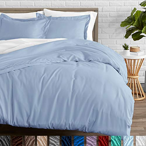 Bare Home Duvet Cover and Sham Set – Twin/Twin Extra Long – Premium 1800 Ultra-Soft Brushed Microfiber – Hypoallergenic, Easy Care, Wrinkle Resistant (Twin/Twin XL, Light Blue)