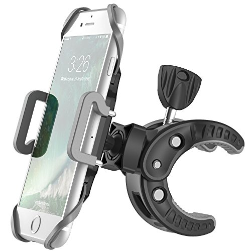 iPhone Bicycle Mount, F-color Universal Bike Mount Cell Phone Holder Clamp with 360 Degree Rotation and Rubber Strap for iPhone Samsung HTC, Smartphone and GPS Devices up to 3.6 inch Wide, Black