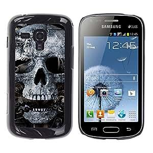 Qstar Arte & diseño plástico duro Fundas Cover Cubre Hard Case Cover para Samsung Galaxy S Duos / S7562 ( Skull Mummy Egypt Pharaoh Black White)
