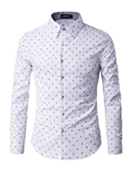 TUNEVUSE Men's Slim Fit Printed Dress Shirt Casual Long Sleeve Shirts