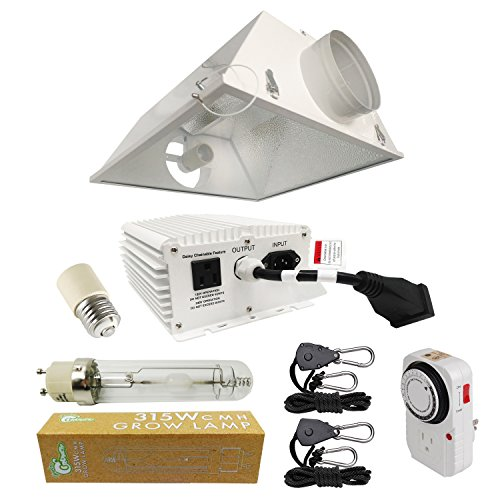 Metal Halide Reflector - Hydro Crunch 315-Watt CMH Ceramic Metal Halide Grow Light System 6 in. Large Air Cooled Reflector