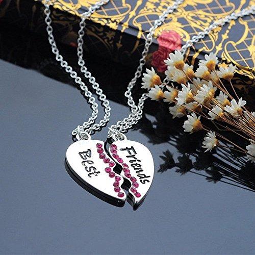 Women Fashion Jewellery Best Friends 2 Parts Rose Rhinestone