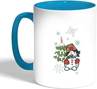 كوب سيراميك للقهوة بتصميم فصل الشتاء ، لون تركواز