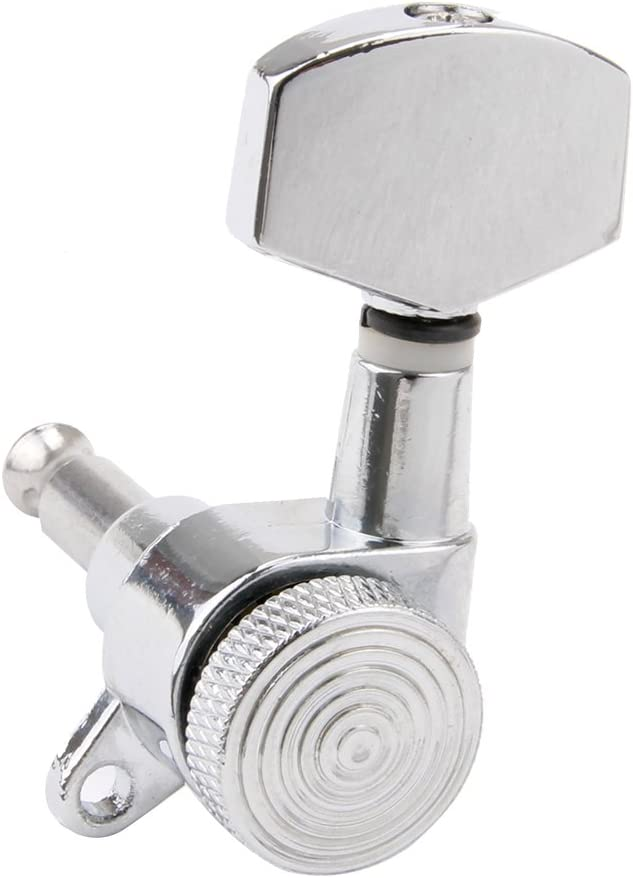 Kmise 3R3L Guitar Tuning Heads Pegs Keys Machine Heads Tuner Semi Closed 16:1 Chrome for Fender Parts Replacement