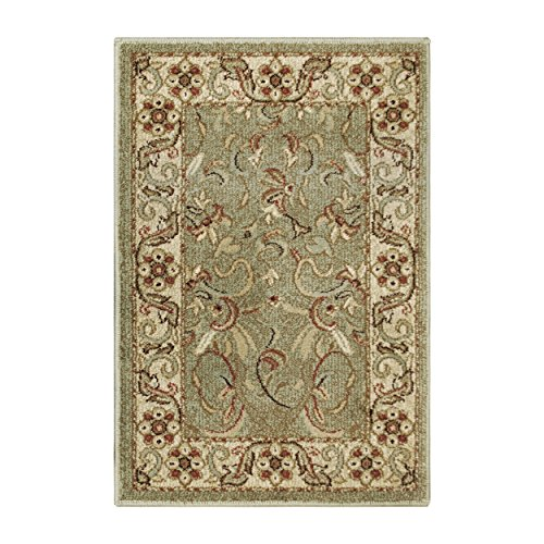 Superior Elegant Heritage Collection Area Rug, 10mm Pile Height with Jute Backing, Timeless and Beautiful Nature Design, Anti-Static, Water-Repellent Rugs - Green, 2' x 3' Rug (Green Blue Rugs)
