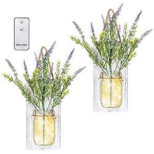 TenXVI Designs Remote Controlled Hanging Mason Jar Sconces – Set of 2 – Lavender Flowers, LED Fairy Lights – Perfect Shabby Chic Decorations, Farmhouse Decorations and Mason Jar Decorations