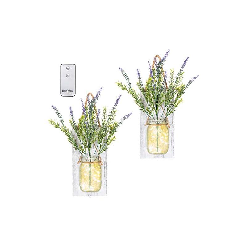silk flower arrangements tenxvi designs remote controlled hanging mason jar sconces - 2 sets - flowers, led fairy lights, shabby chic wall decor, rustic farmhouse wall decor and mason jar wall decor (lavender)
