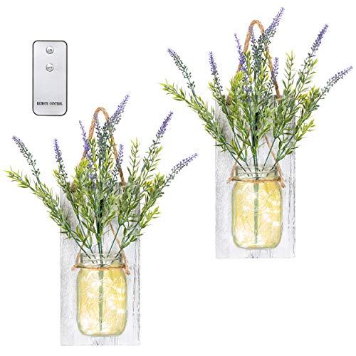 TenXVI Designs Remote Controlled Hanging Mason Jar Sconces - Set of 2 - Lavender Flowers, LED Fairy Lights - Perfect Shabby Chic Decorations, Farmhouse Decorations and Mason Jar Decorations
