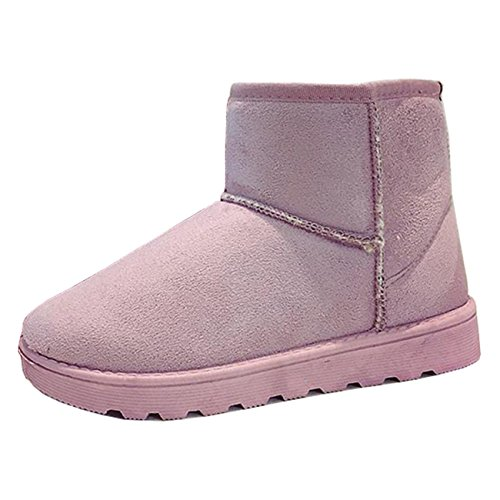Mashiaoyi Women's Round-Toe Flat Slip-on Suede Snow Boots Pink