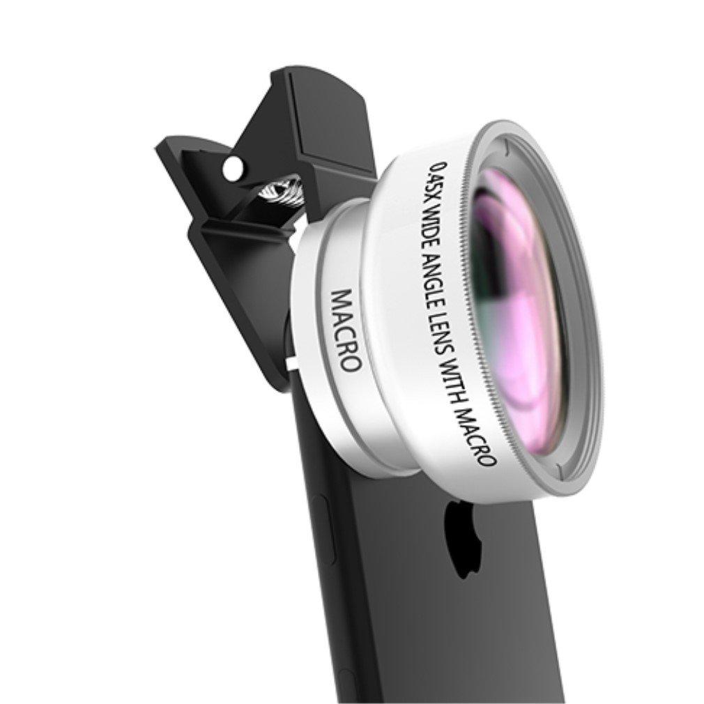 Bidafun 2 in 1 Clip-on Professional Weitwinkel High Definition-Objektiv mit 37mm Gewinde Makro-Objektiv für iPhone SE 6s 6 5s Android und alle anderen Smart Phones Fachkameras Clip on HD Kamera Objektiv Adapter Super Makro Objektiv Handys Samsung