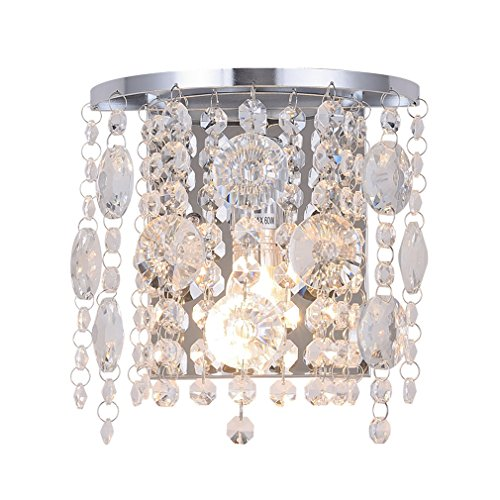 Wall Light Fixtures with Crystal Drops,Polished Chrome Finish,Bedside Light,Wall Sconce for Living Room Bedroom Hallway and Closet