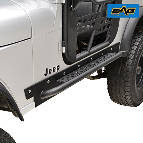 - EAG Off Road Steel Rocker Guard with Step for 76-86 Jeep Wrangler CJ7 Running Boards