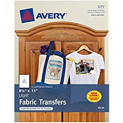 Avery 3275 Iron-On Light Fabric Transfers, 8-1/2 x 11 Inches, Pack of 12 - 03275